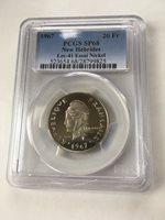 Mintage = 50 1967 New Hebrides 20 Francs Top Pop Essai Test PCGS SP68 RARE!