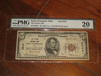 1929 Type 1 $5 National Bank Note - Potters NB East Liverpool Ohio #2544 PMG 20