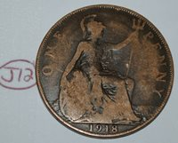 1918 Great Britain 1 Penny George V UK Coin KM# 810 Lot #J12