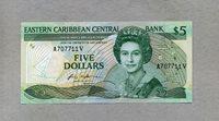 5 Dollars Nd(1986-88) Ostkaribische Staaten P 18v/ Queen Elizabeth Ii/windsurfer Palm swordfish -