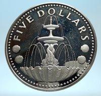 1974 BARBADOS Proof Arms Fountain Trafalgar Antique Silver 5 Dollars Coin i77496