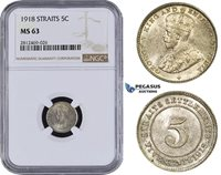 AA088, Straits Settlements, George V, 5 Cents 1918, Silver, NGC MS63