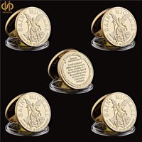 5PCS USA Gold Challenge Coin St Michael The Prayer Archangel Medal