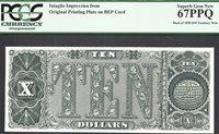 $10 1890 Treasury Note BACK INTAGLIO PCGS Superb Gem New 67 PPQ