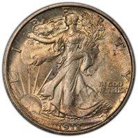 1918 D Walking Liberty Half Dollar PCGS MS-64+ CAC