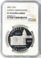 2001-P $1 Capitol Visitor Center Commemorative Silver Dollar NGC PF70UCAM