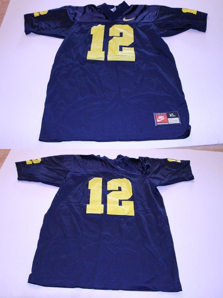 on sale b7648 dc5b3 Youth Michigan Wolverines #12 XL (18/20) Vintage Football Jersey Nike (Navy  Blue