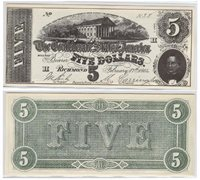 Confederate States of America - movie prop $5 bill serial #1138 Reed type CA-50b
