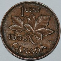 Canada 1950 1 Cent Copper One Canadian Penny