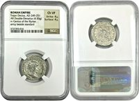 Roman Trajan Decius AD249-251 Double Denarius Genius Army Illyricum NGC Ch VF