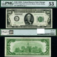 FR. 2151 G $100 1928-A Federal Reserve Note Chicago DGS G-A Block PMG AU53
