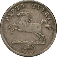 Germany 1716; Silver 2/3 Thaler; Large 36mm; Horse jumping; Brunswick Wolfenbuttel; Not cleaned or damaged; natural patina; Grade VF