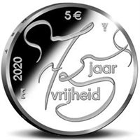 "2020 Netherlands €5 Coin Issue ""Liberation of the Netherlands 75 Years"""