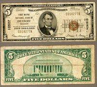 Detroit MI $5 1929 T-1 National Bank Note Ch #10527 First Wayne NB Very Good