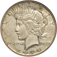 1934-S Peace Dollar XF / Extremely Fine 45, NGC S$1 C22138