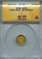 1926 Costa Rica 2 Colones ANACS AU55 Detail Christopher Columbus KM139 Gold Coin