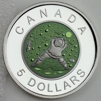 Canada 2013 Ice Fishing Inuit Father $5 Pure Silver & Niobium - Only 2,968 Sold!