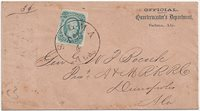 "CSA #12c (AD) Greenish-Blue (margin close at the left) tied by a full strike ofthe Selma, Ala CDS 4 DEC. Addressed to Genl W. P. Bocock, Prest A &M RRR Co (Alabama and Mississippi Rivers Railroad Co.), Demopolis, Ala.Not sure of the meaning of the title ""General,"" but it was certainlynot associated with the Confederate Army and was most likely honorary.Semi-Ofiicial Imprint at the upper right ""OFFICIALQuartermaster's Department, Selma, Ala."" (WD-QM-14) in the CSA Catalog). Very Fine."
