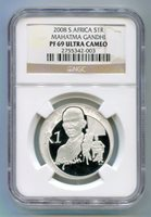South Africa 2008 - Silver R1 GANDHI NGC PF 69 ULTRA Cameo PROOF COIN