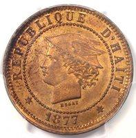 1877-IB CT Haiti 20C Essai Pattern Coin (KM-Pn75) - PCGS SP64 RB (MS64)