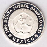 TURKEY 10000 LIRA 1986 SILVER 925 Ag.COMM COIN UNC MEXICO FOOTBALL CHAMPIONS
