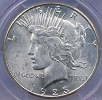 1923 S PEACE DOLLAR PCGS MS 62 FROSTY WHITE LUSTER