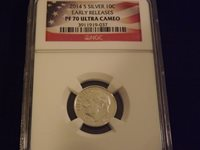 2014-S Dime Silver Early Releases Flag Label NGC PF 70 Ultra Cameo