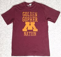 New (Mens Med) GOLDEN GOPHER NATION T-SHIRT Minnesota Maroon&Gold Letter-M Adult