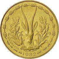 West African States, 5 Francs, 1982, AU(55-58), Aluminum-Nickel-Bronze, KM:2a