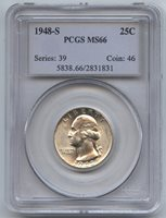 1948-S Silver Washington Quarter PCGS MS 66 Certified - San Francisco