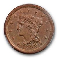 1853 1C Braided Hair Large Cent PCGS MS 62 BN Uncirculated Brown Attractive