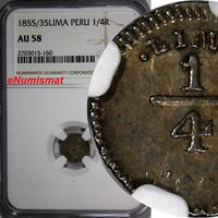 35 1/4 Real 1855/35 World Coins Peru Silver 1855/ Overdate Ngc Au58 Lima Nice Toned Km# 143 1