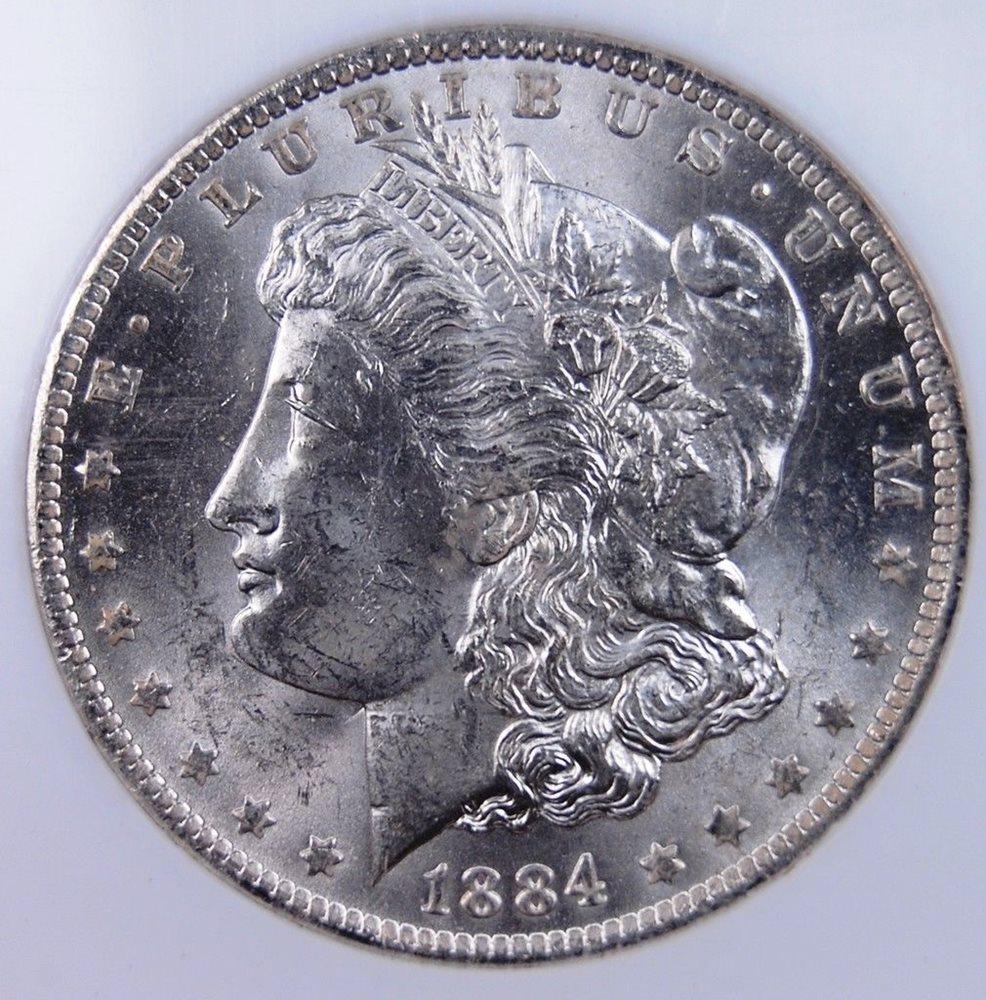 1884 O Morgan Dollar Ngc Ms 63 All White Flashy Luster