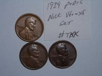 wheat penny 1929,1929d,1929s SET OF 3 VF/XF LINCOLN CENTS 1929-p,1929-d,1929-s