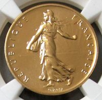 1978 GOLD FRANCE PIEFORT 1 FRANC NGC PROOF 69 ONLY142 MINTED