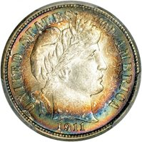 $0.10 1911-S Barber 10c Dime - Toned PCGS MS64 PQ
