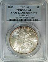 1887 Silver Morgan Dollar PCGS MS 64 Vam 12 Alligator Eye California Toned Rim