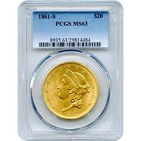 1861-S $20 Liberty Head Double Eagle PCGS MS63