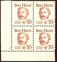 Lot id: 6891 - 1987 Sc 2196 Bret Harte Lower Left Position Plate Block $5.00Scitt 2196 $5.00 Plate Block Lower Left MNH