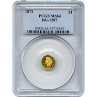 BG-1207 G$1 1872 California Fractional, Indian Round PCGS MS64 R5