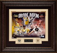 "Lance Armstrong Cal Ripken Jr Framed Autograph ""Iron Men"" 16×20 photo by Ironclad Authentics"