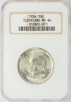 1936 Commemorative Half Dollar Cleveland NGC MS-64