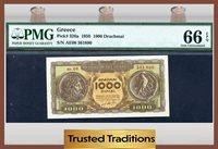 1000 Drachmai 1950 Greece Pmg 66 Epq Gem Uncirculated Pop One