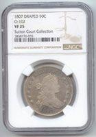 1807 Draped Bust Half Dollar, NGC VF-25, O-102