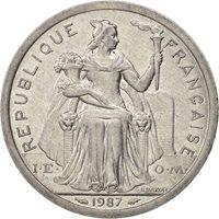 New Caledonia, 2 Francs, 1987, Paris, AU(50-53), Aluminum, KM:14