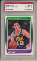 1988 FLEER #115 JOHN STOCKTON ROOKIE - PSA 8 NM-MT (SVSC)