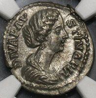 176 NGC Ch AU Faustina Jr Roman Empire Denarius Death Altar Marcus (18102604C)