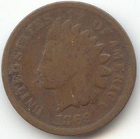 1869 Indian Head Cent, Problem Free Good, Full Obverse and Reverse Rims