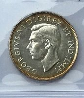 Canada 1947 Curved 7 George VI ICCS MS63 Original Coin Nice Rim Toning