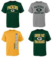 Green Bay Packers NFL Youth Boys Pick Color Short Sleeve Team T-Shirts: S-XL